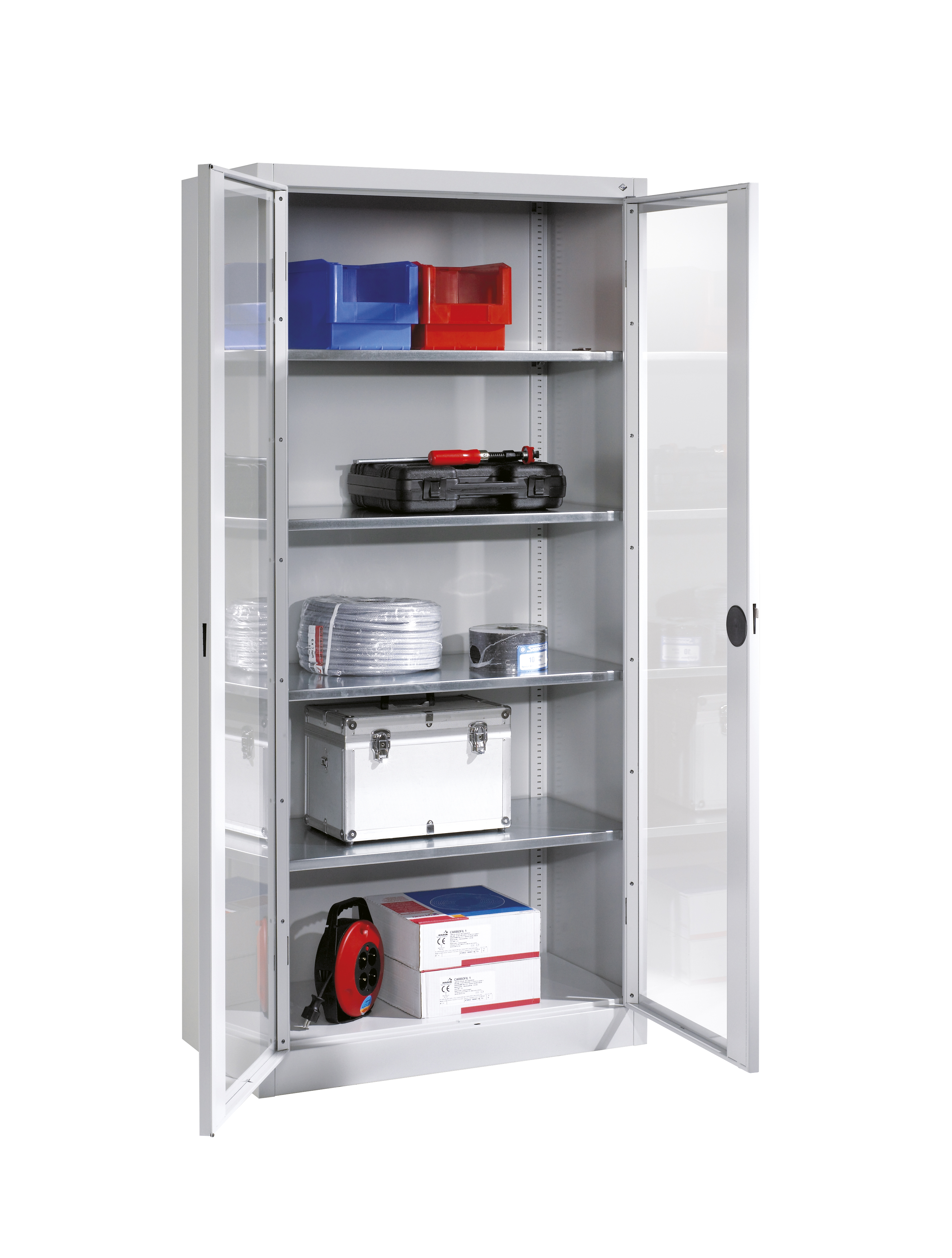 Tool and material cabinets with vision panels in doors